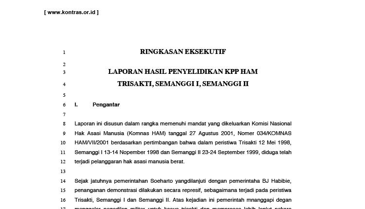 Ringkasan Eksekutif Laporan KPP HAM Trisakti, Semanggi I, Semanggi II
