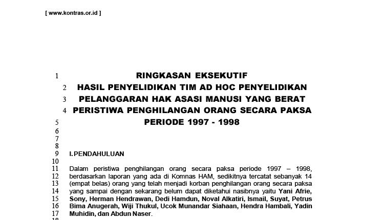 Ringkasan Eksekutif Laporan Tim Ad Hoc Penghilangan Orang Secara Paksa Periode 1997-1998